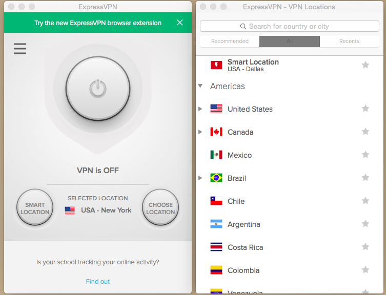 ExpressVPN Computer Interface