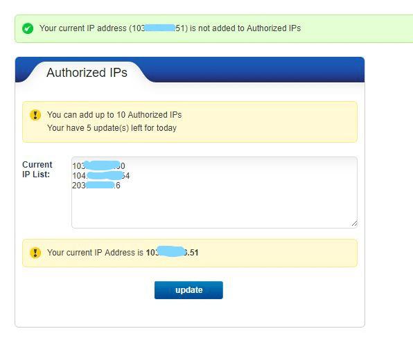 How to authorize IPs