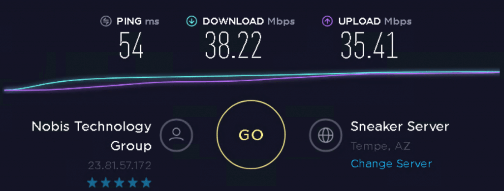 Speed test to 23.81.57.172