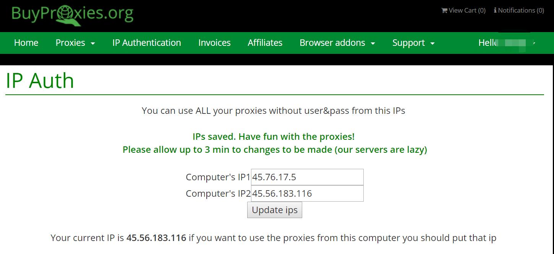 Authorizing IPs on buyproxies.org