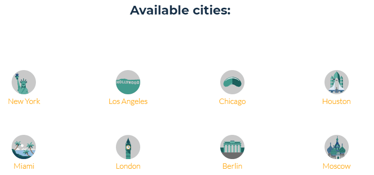 Available GEO cities of residential IPs