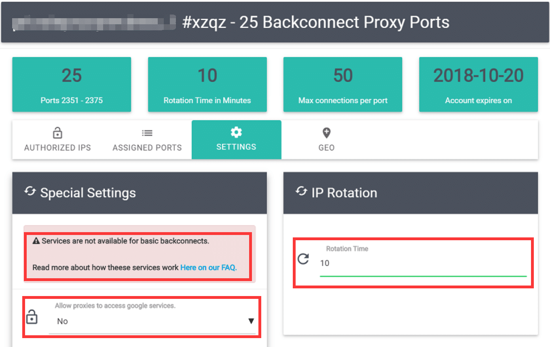 Basic Backconnecting Proxies Settings