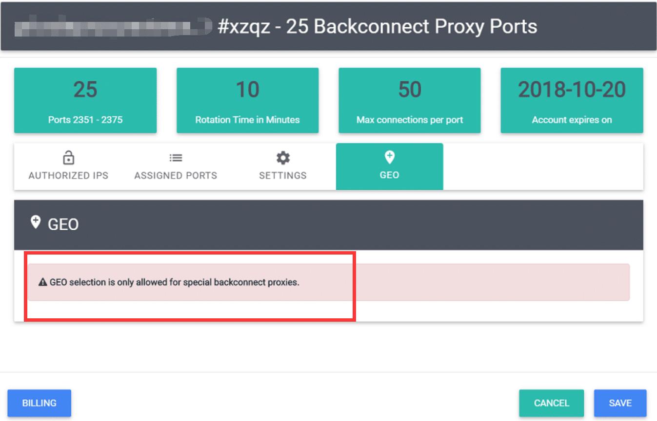 Basic Backconnecting Proxy Geo-Targeting