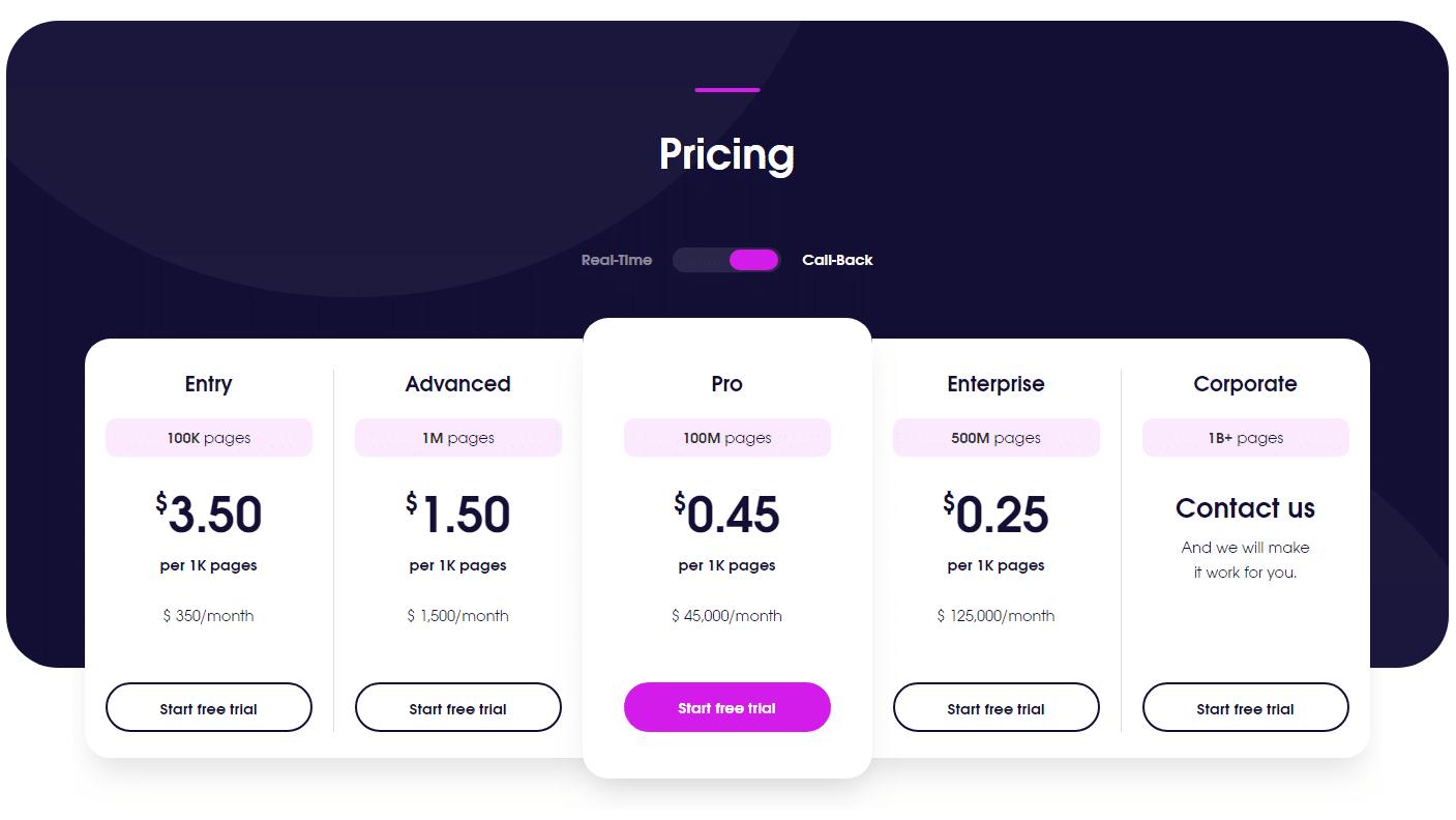 Callback crawler pricing