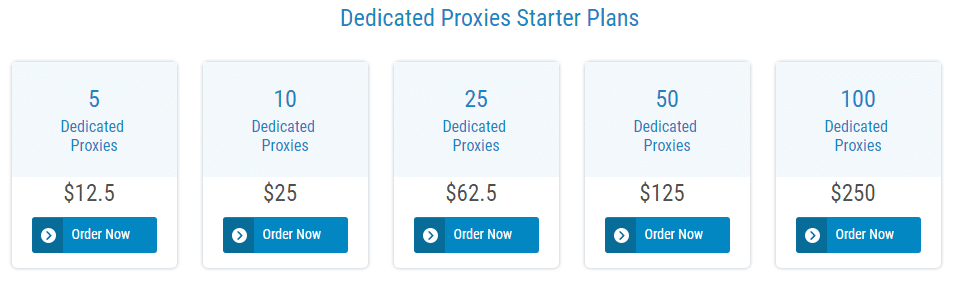 Dedicated Proxies Pricing