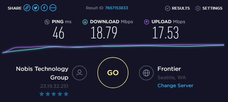 Speed test to IP7-23.19.32.251