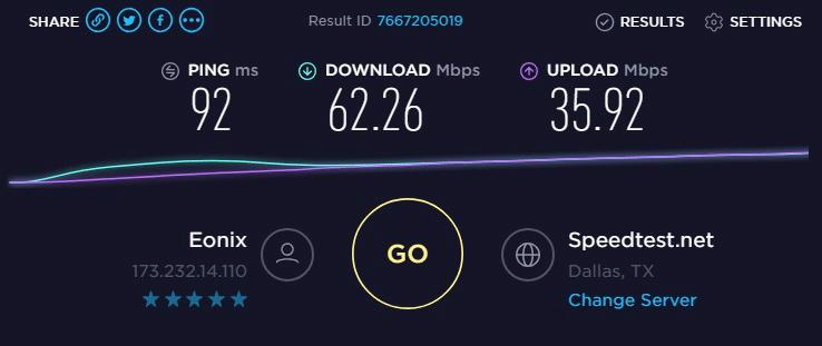 Speed test to IP9- 173.232.14.110