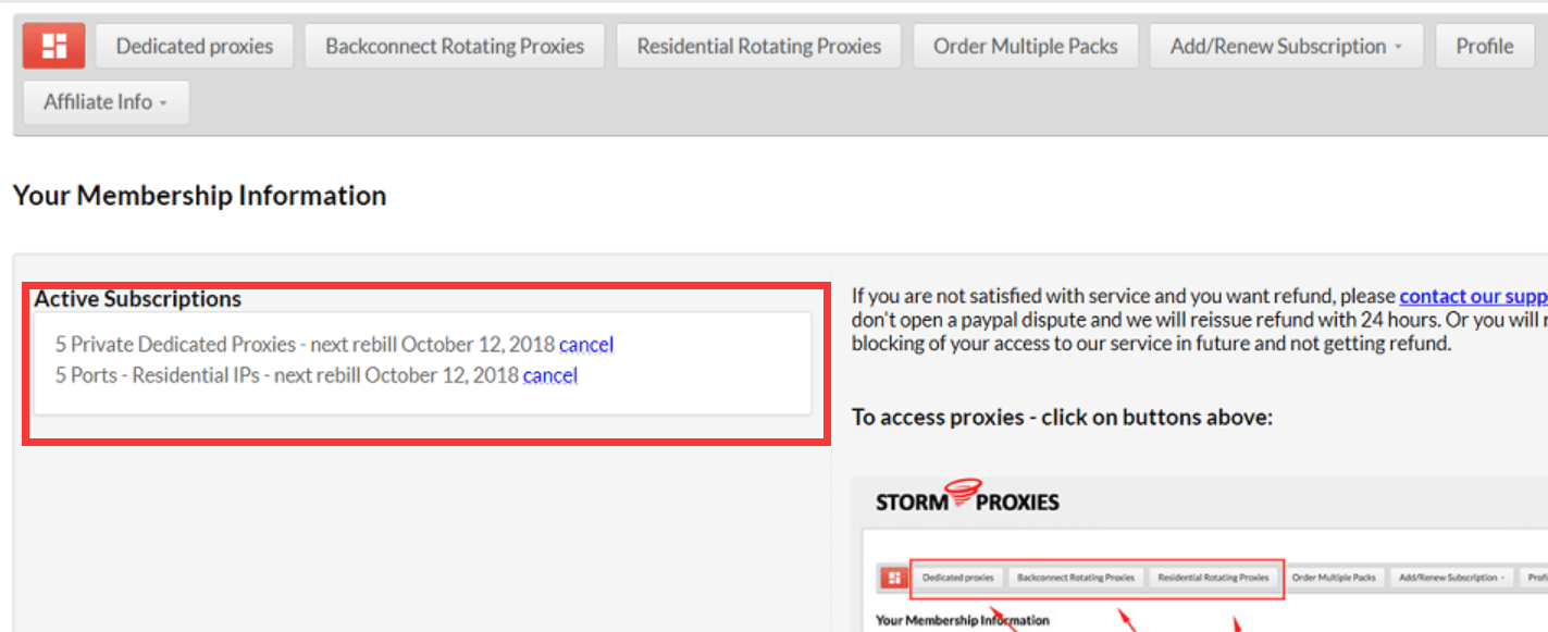 Our proxies subscriptions to stormproxies.com