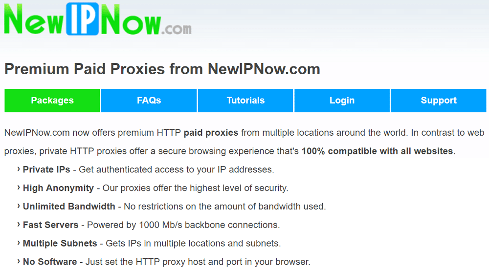 Premium Paid Proxies from NewIPNow.com