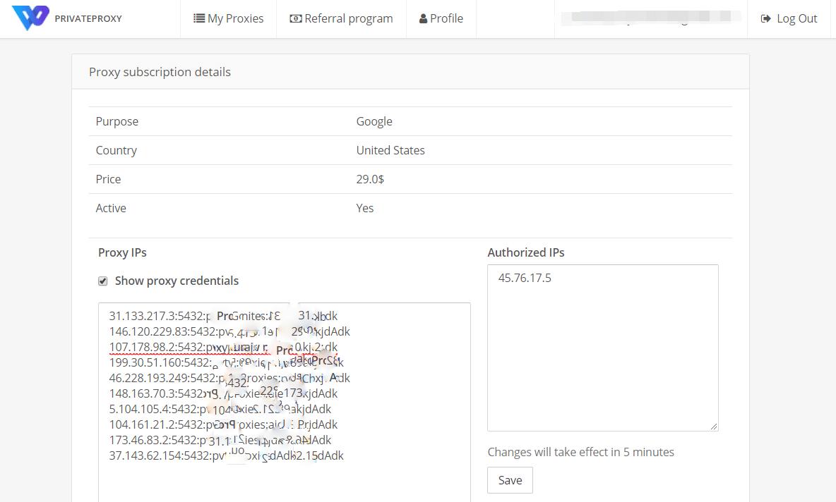 Proxy IPs list and IP authorization
