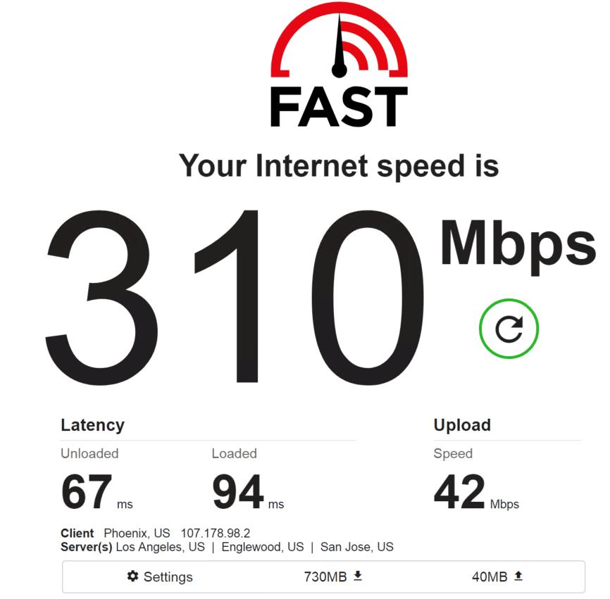 Speed test PrivateProxy IP 3