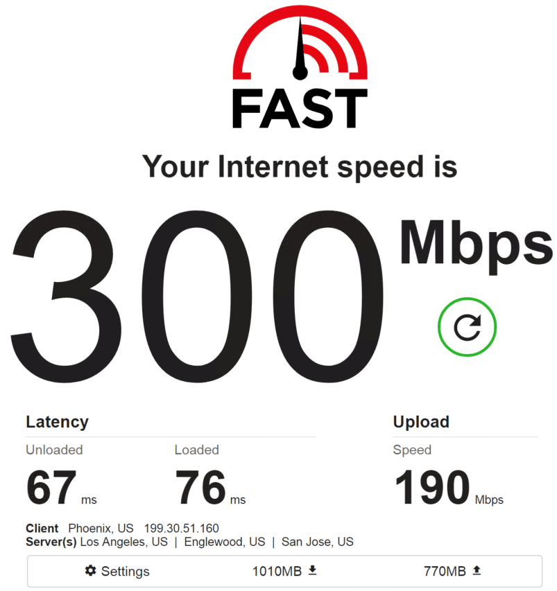 Speed test PrivateProxy IP 4