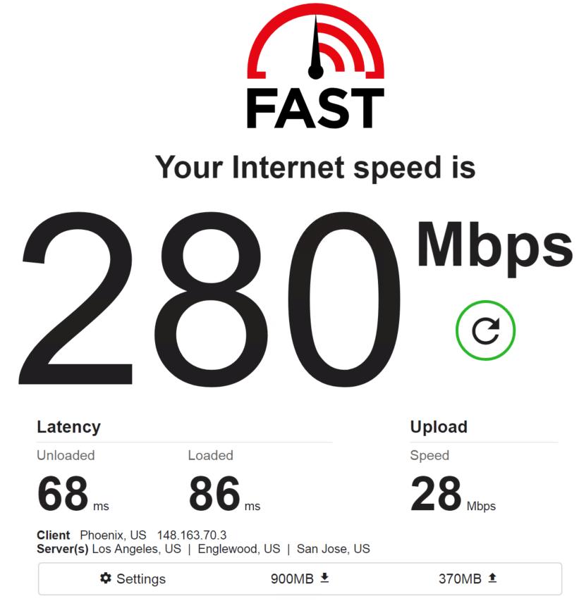 Speed test PrivateProxy IP 6