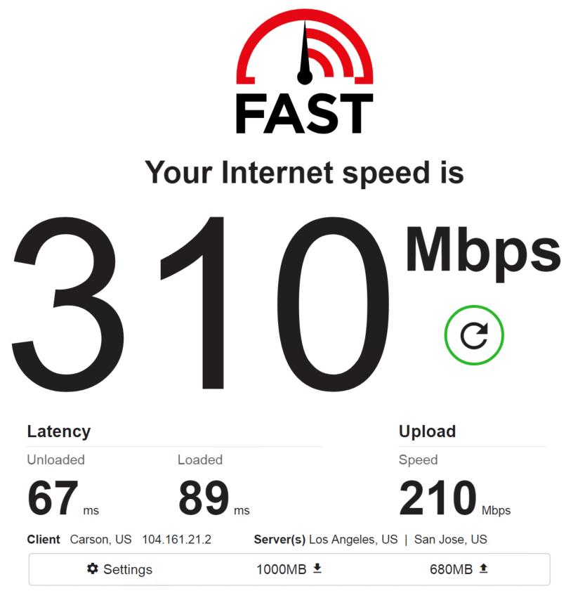 Speed test PrivateProxy IP 8