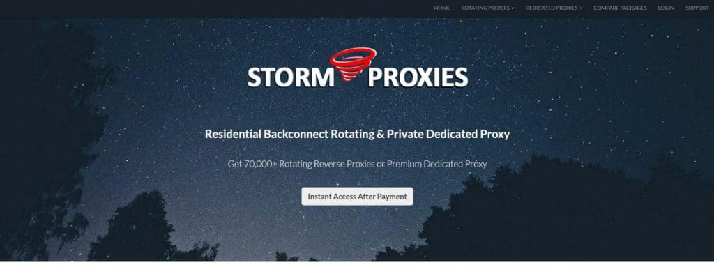 Storm Proxies Homepage
