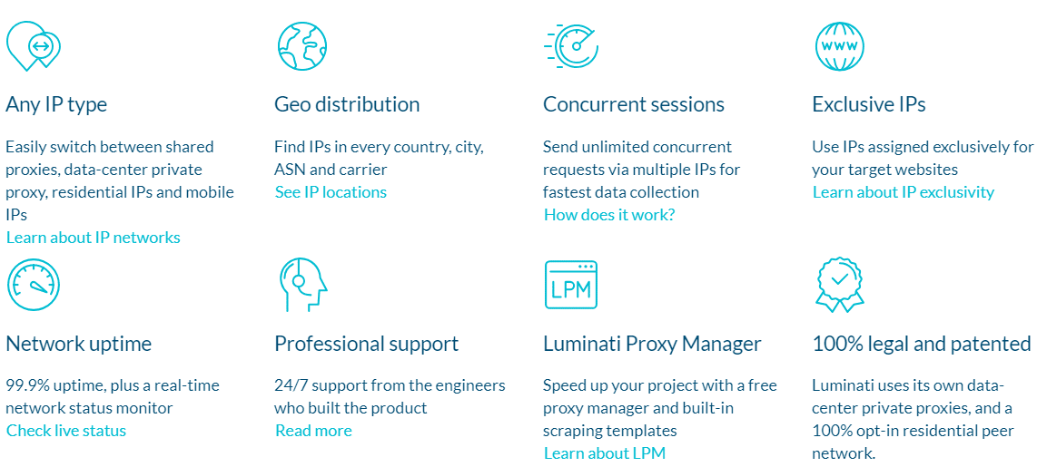 advantages of Luminati proxy service