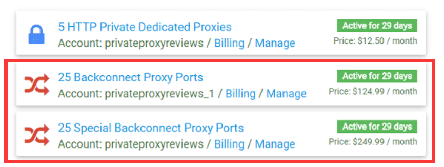 Our backconnect proxies packages