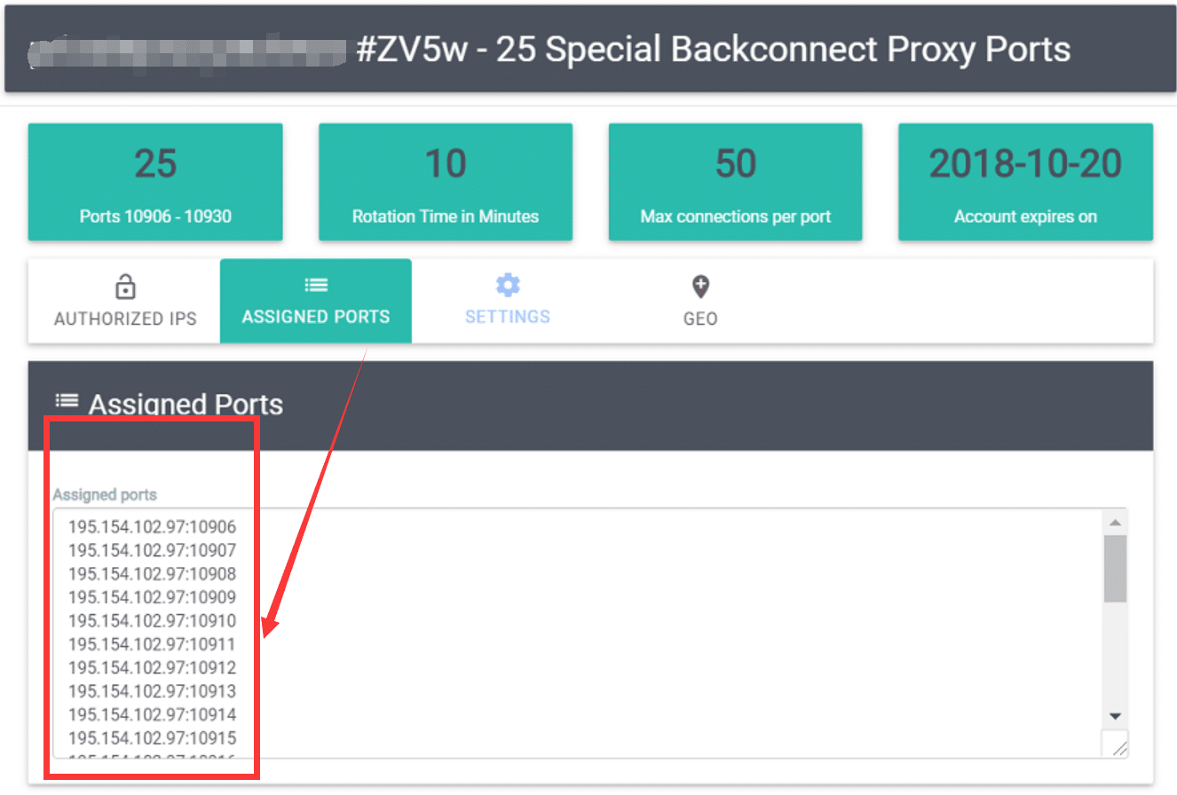 list of purchased special backconnecting proxies