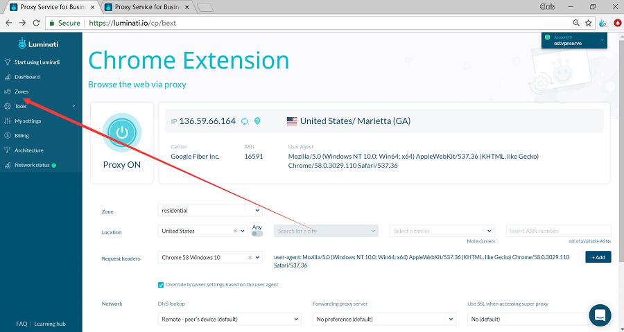 luminati chrome extension configure zone