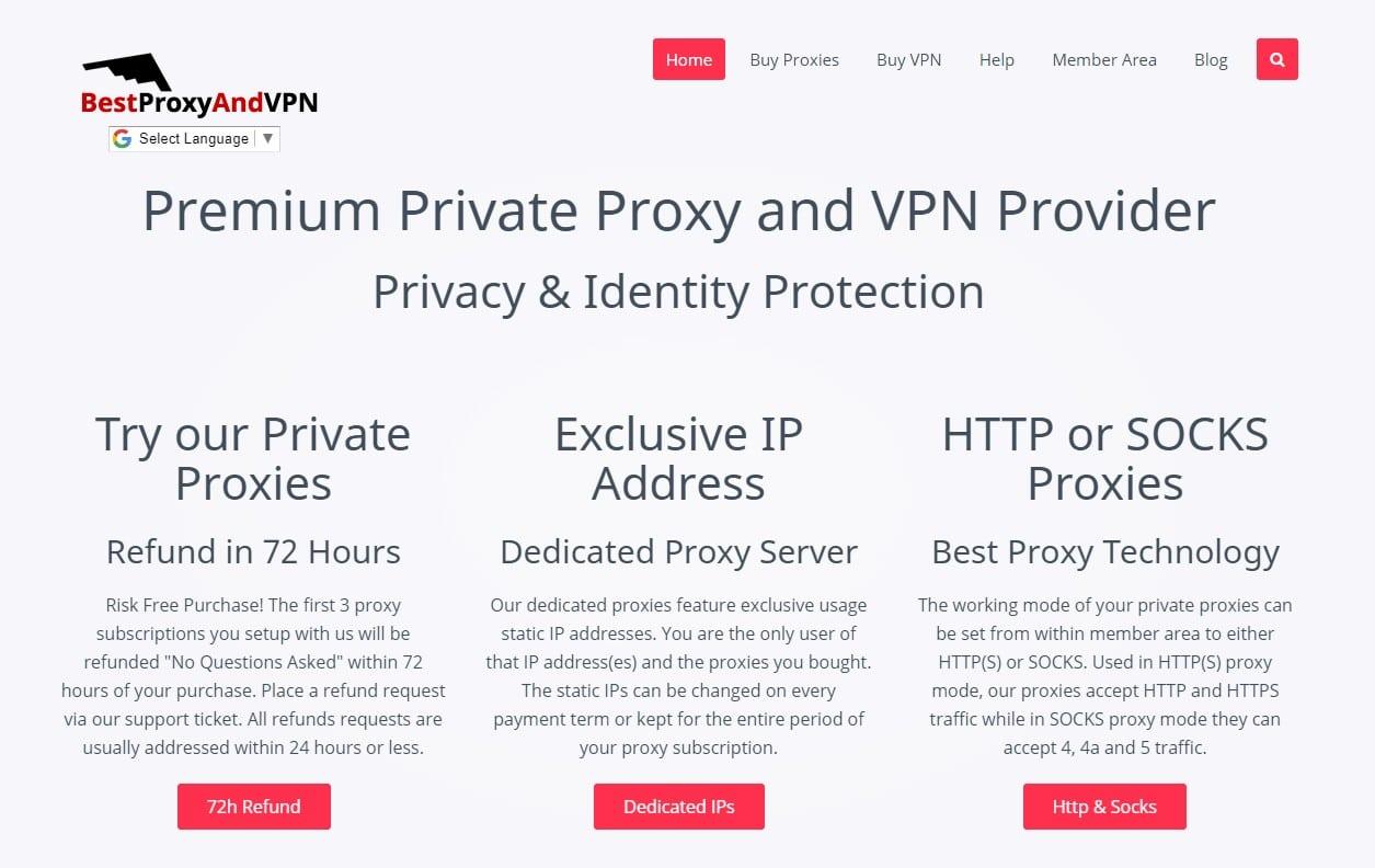 BestProxyAndVPN website homepage