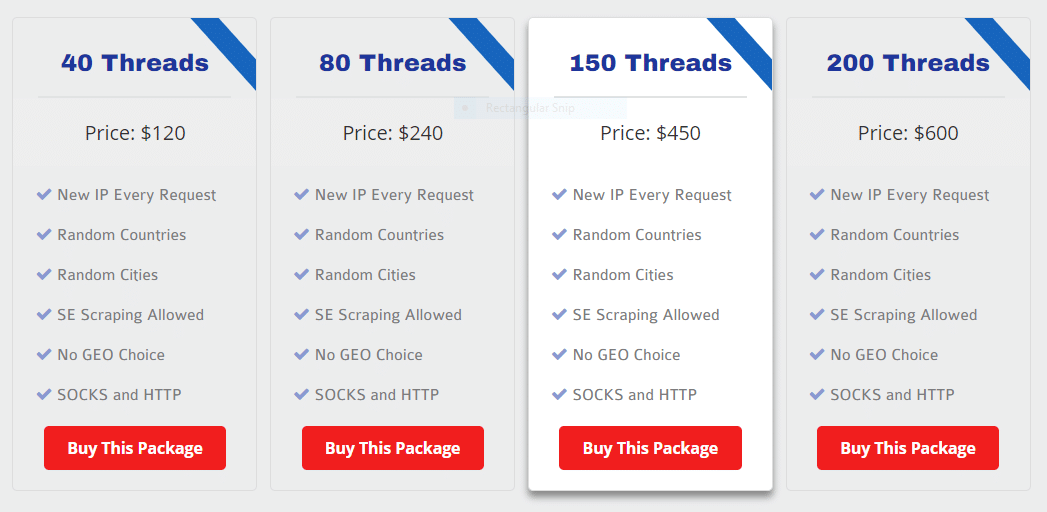 International Rotating Proxies pricing plans