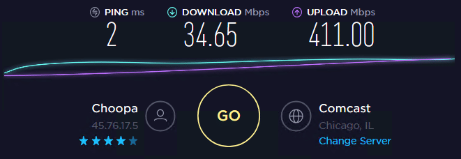 Speed test without proxy