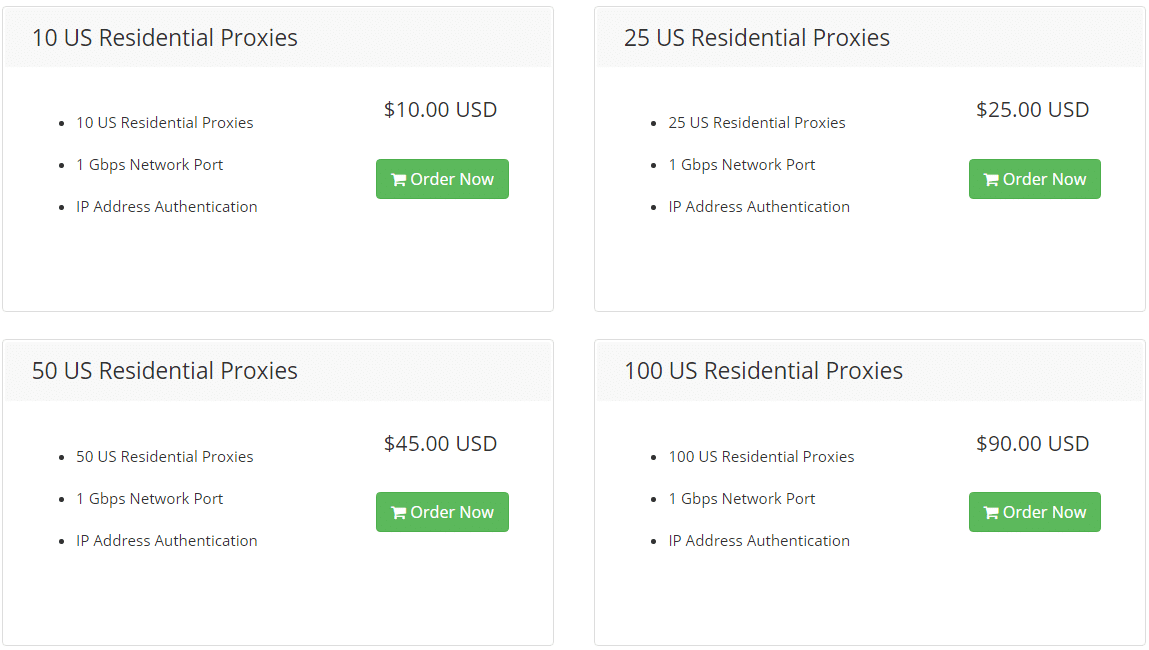 Price plan of residential proxies