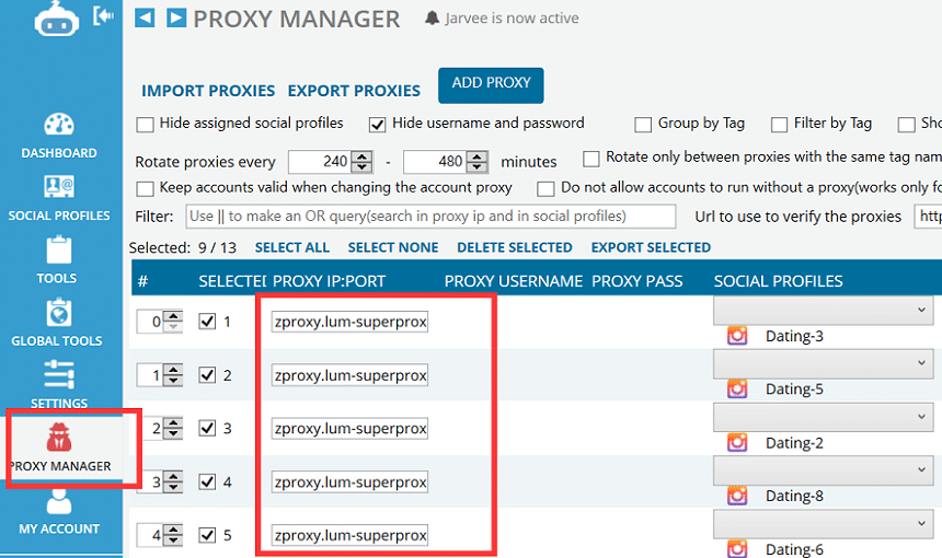 Jarvee proxy manager