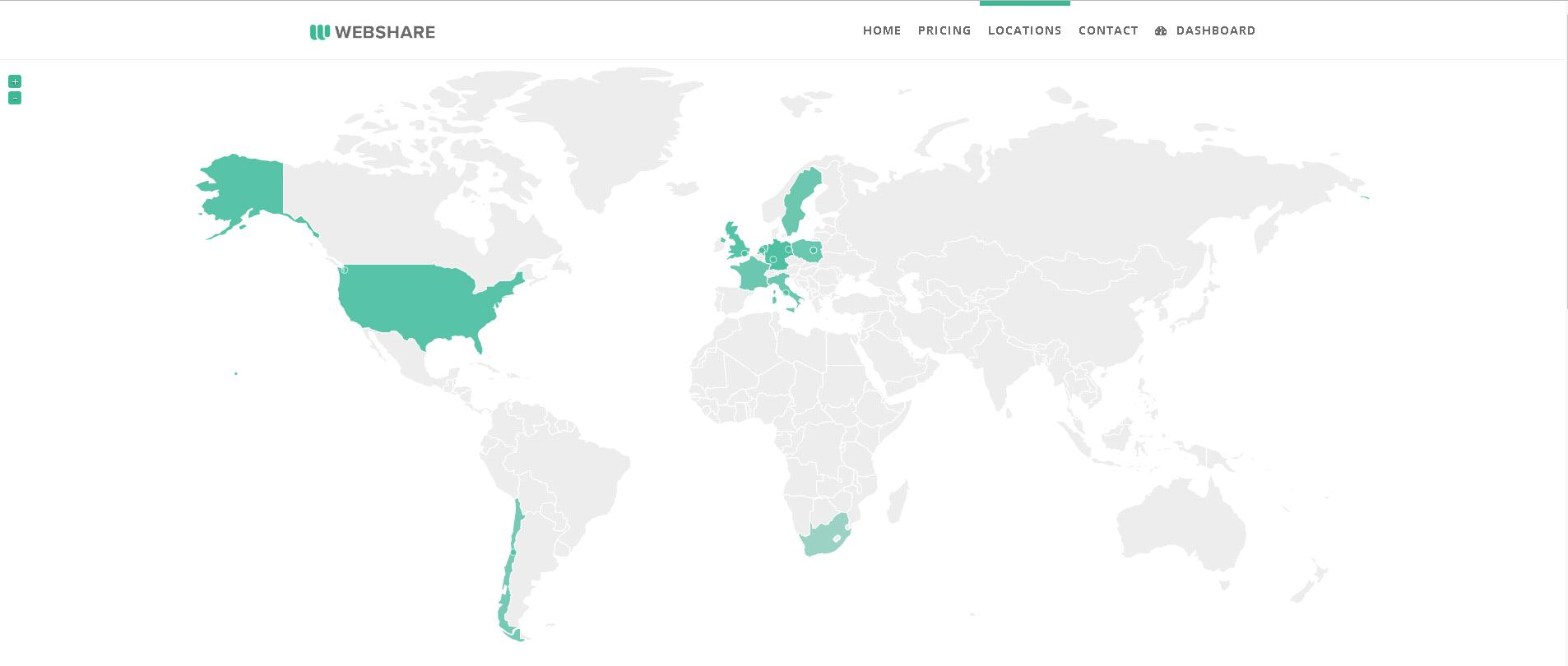 Webshare proxy location map