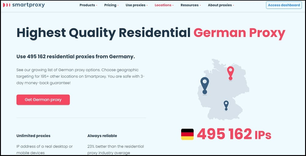 Smartproxy Location in German