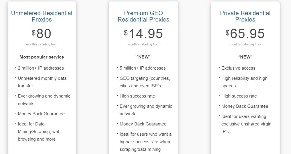 Proxyrack residential packages price